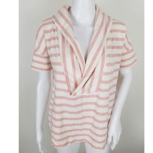 Loft Pink Striped Short Sleeve Sweater